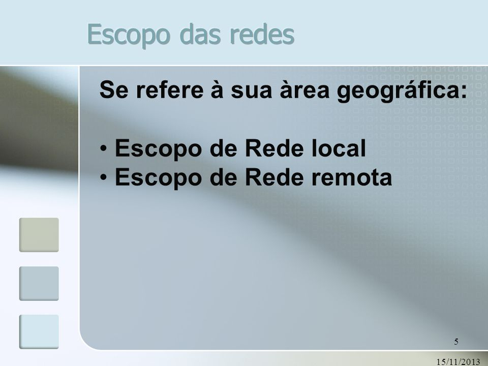 15/11/2013 5 Se refere à sua àrea geográfica: Escopo de Rede local Escopo de Rede remota