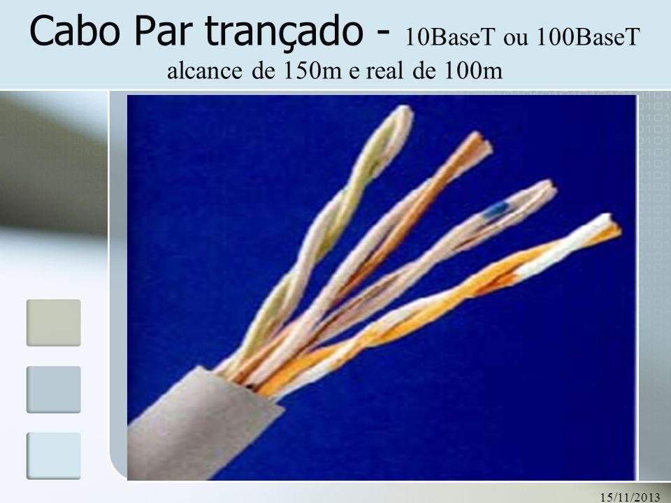 15/11/2013 51 Cabo Par trançado - 10BaseT ou 100BaseT alcance de 150m e real de 100m