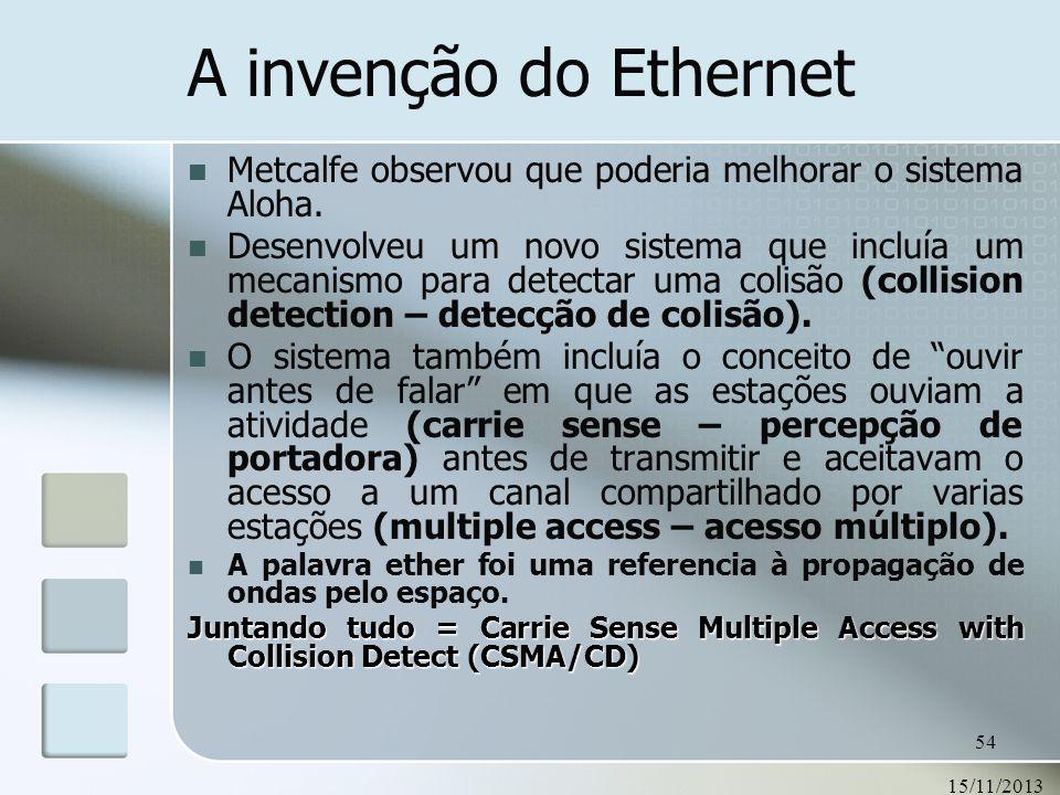 15/11/2013 54 A invenção do Ethernet Metcalfe observou que poderia melhorar o sistema Aloha. Desenvolveu um novo sistema que incluía um mecanismo para