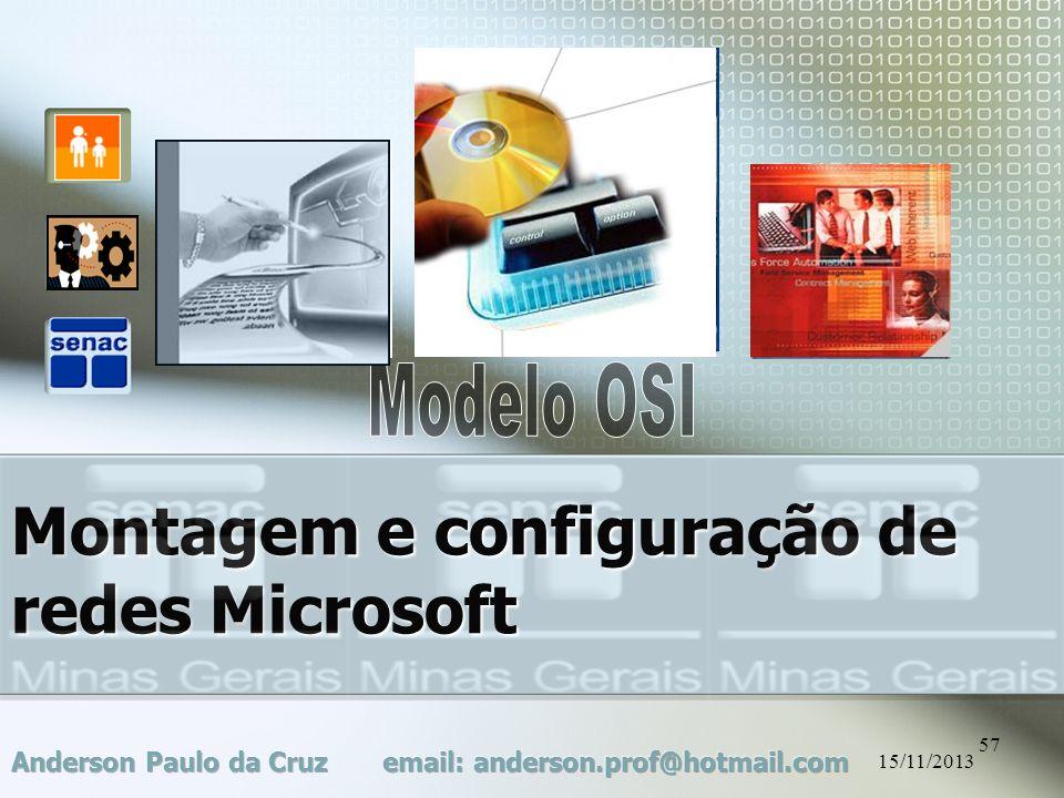15/11/2013 57 Montagem e configuração de redes Microsoft