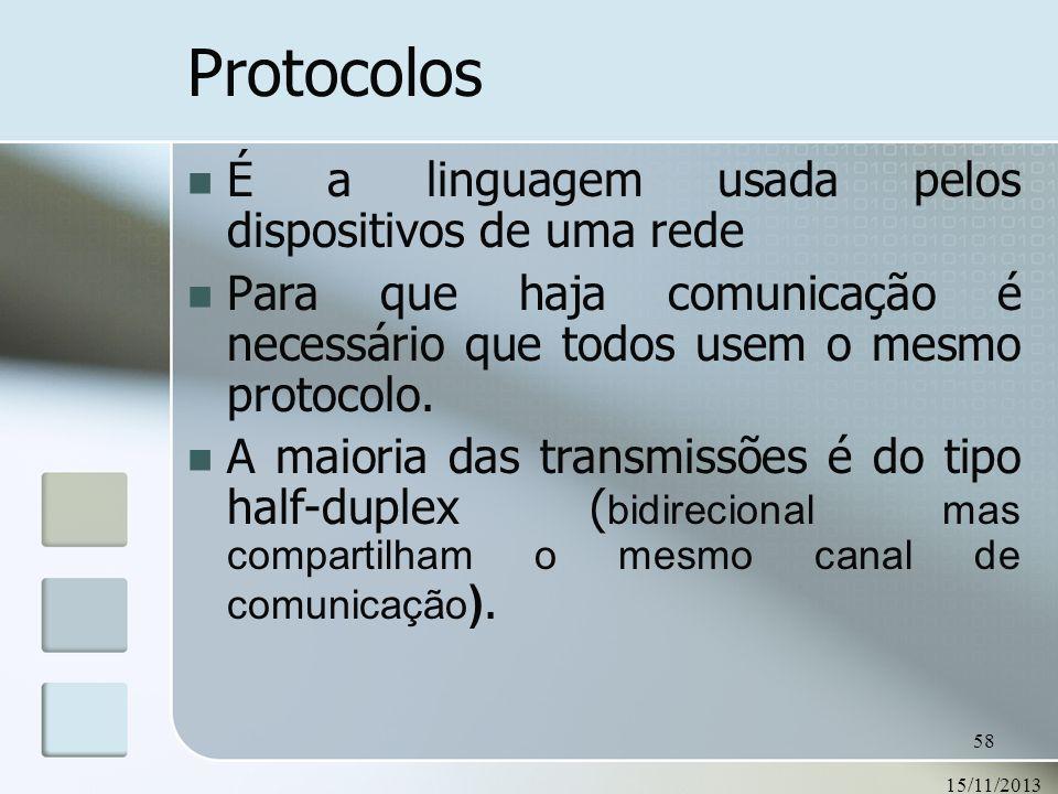 15/11/2013 58 Protocolos É a linguagem usada pelos dispositivos de uma rede Para que haja comunicação é necessário que todos usem o mesmo protocolo. A