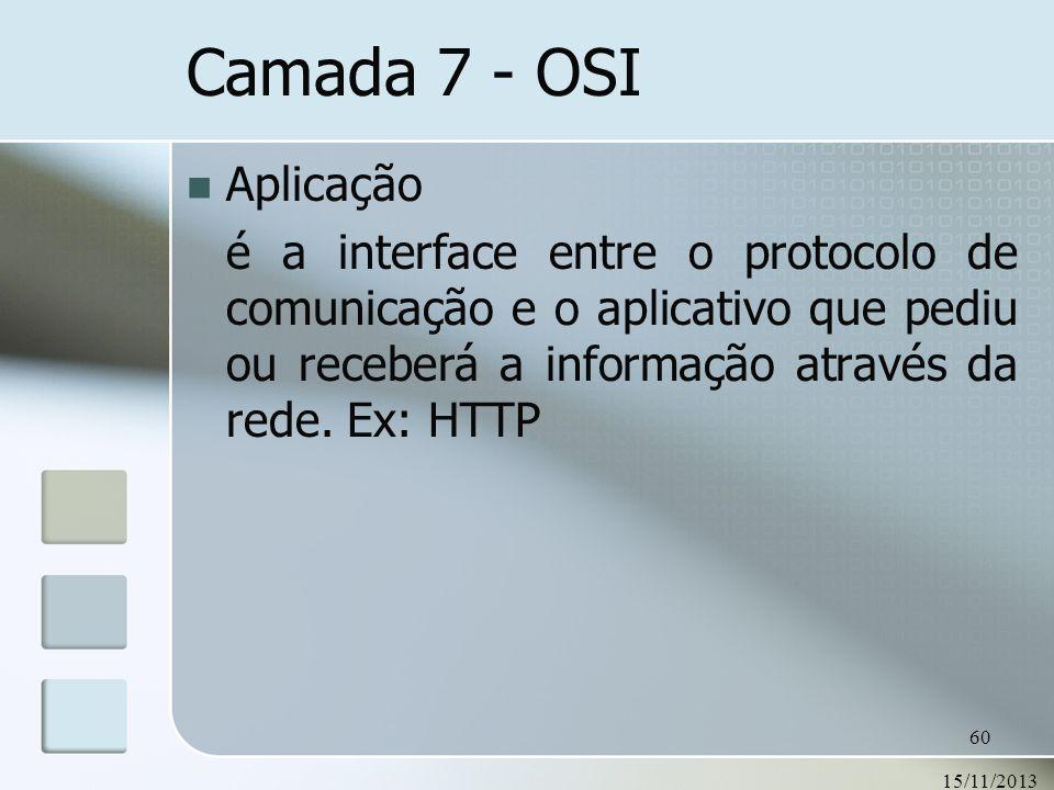 15/11/2013 60 Camada 7 - OSI Aplicação é a interface entre o protocolo de comunicação e o aplicativo que pediu ou receberá a informação através da red