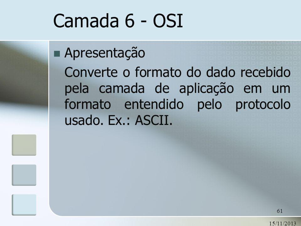 15/11/2013 61 Camada 6 - OSI Apresentação Converte o formato do dado recebido pela camada de aplicação em um formato entendido pelo protocolo usado. E