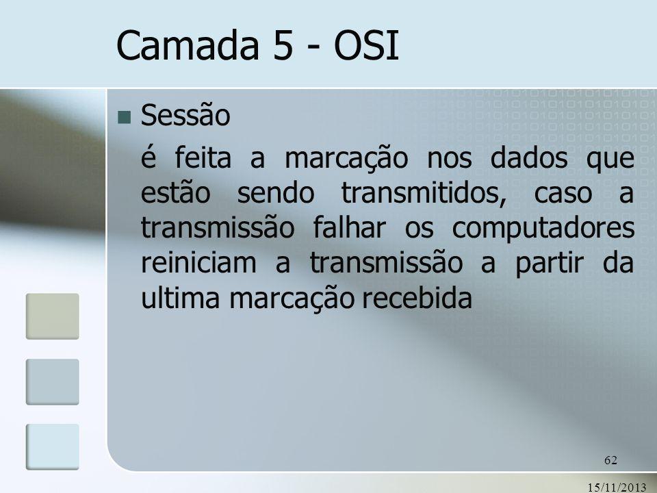 15/11/2013 62 Camada 5 - OSI Sessão é feita a marcação nos dados que estão sendo transmitidos, caso a transmissão falhar os computadores reiniciam a t