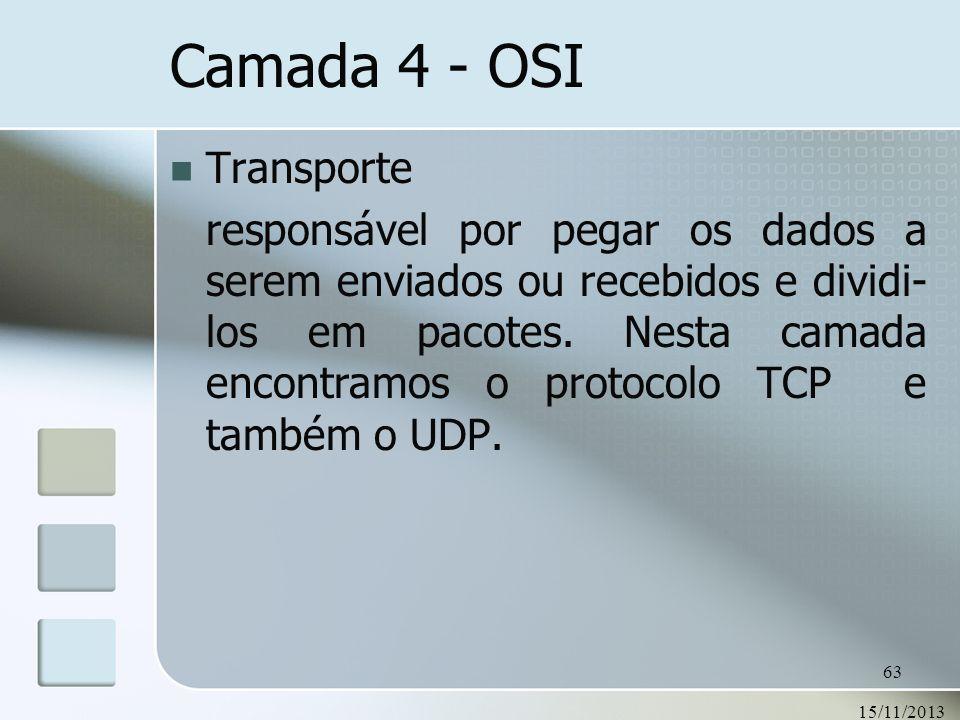 15/11/2013 63 Transporte responsável por pegar os dados a serem enviados ou recebidos e dividi- los em pacotes. Nesta camada encontramos o protocolo T