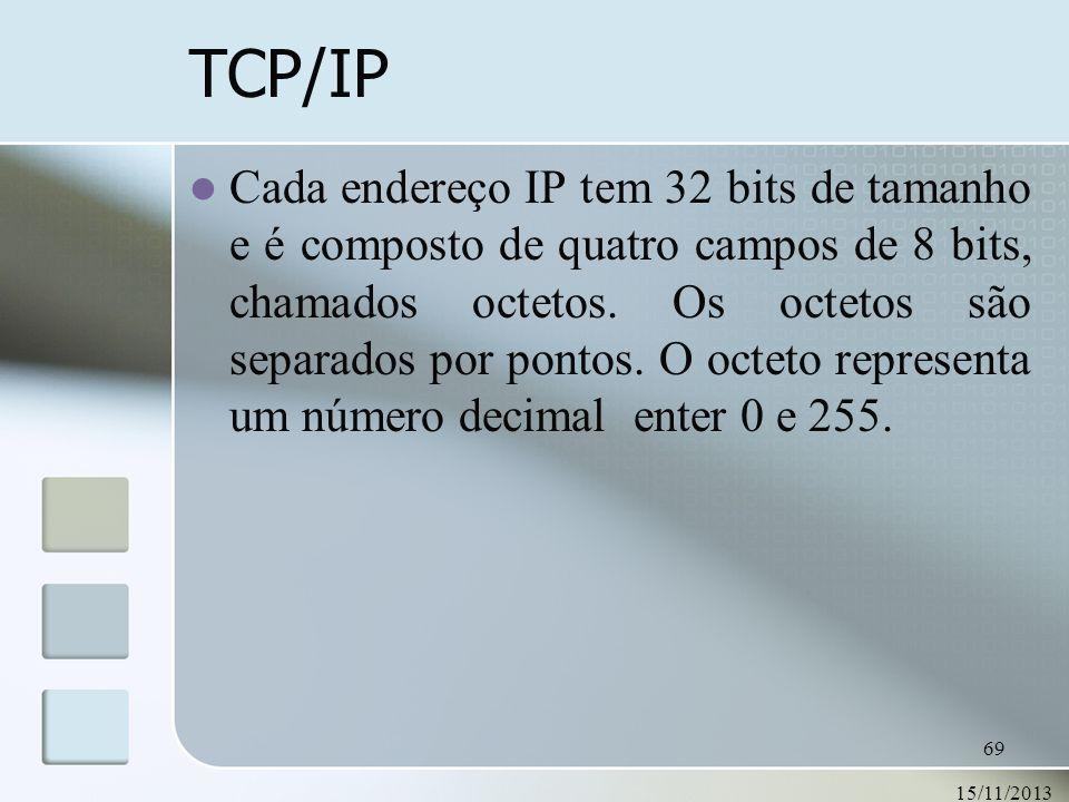 15/11/2013 69 TCP/IP Cada endereço IP tem 32 bits de tamanho e é composto de quatro campos de 8 bits, chamados octetos. Os octetos são separados por p