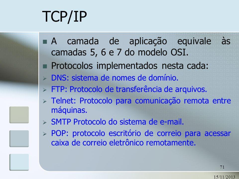 15/11/2013 71 TCP/IP A camada de aplicação equivale às camadas 5, 6 e 7 do modelo OSI. Protocolos implementados nesta cada: DNS: sistema de nomes de d