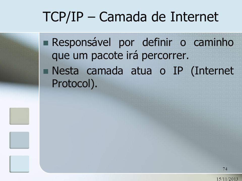 15/11/2013 74 TCP/IP – Camada de Internet Responsável por definir o caminho que um pacote irá percorrer. Nesta camada atua o IP (Internet Protocol).