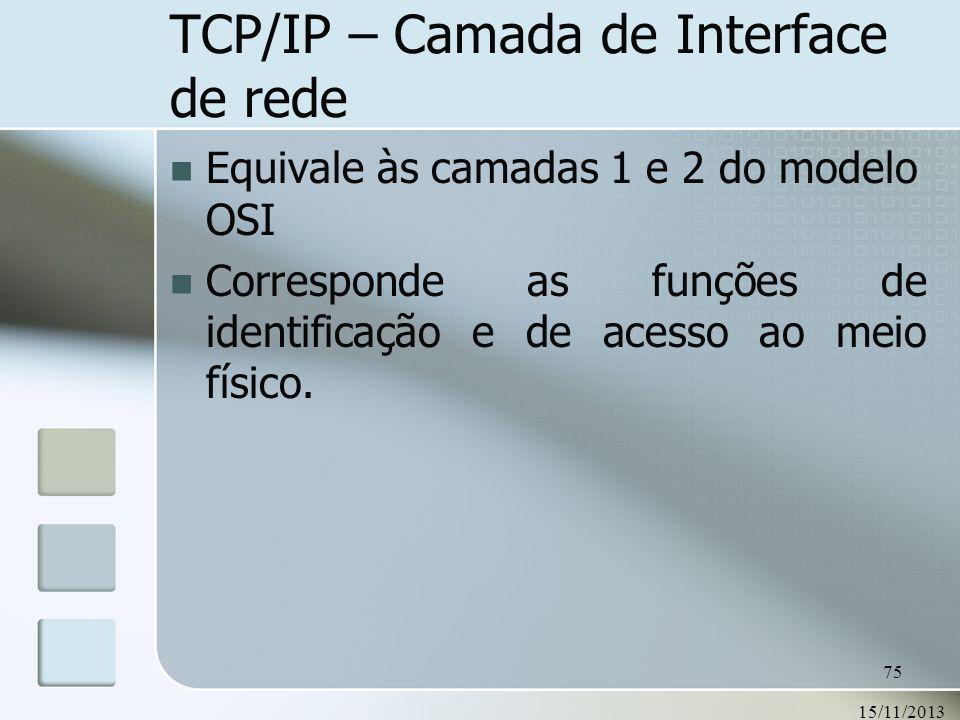 15/11/2013 75 TCP/IP – Camada de Interface de rede Equivale às camadas 1 e 2 do modelo OSI Corresponde as funções de identificação e de acesso ao meio