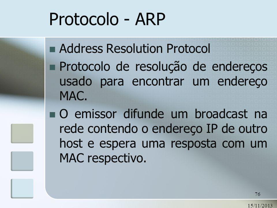 15/11/2013 76 Protocolo - ARP Address Resolution Protocol Protocolo de resolução de endereços usado para encontrar um endereço MAC. O emissor difunde