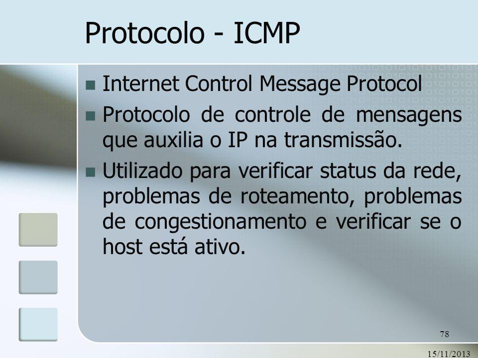 15/11/2013 78 Protocolo - ICMP Internet Control Message Protocol Protocolo de controle de mensagens que auxilia o IP na transmissão. Utilizado para ve