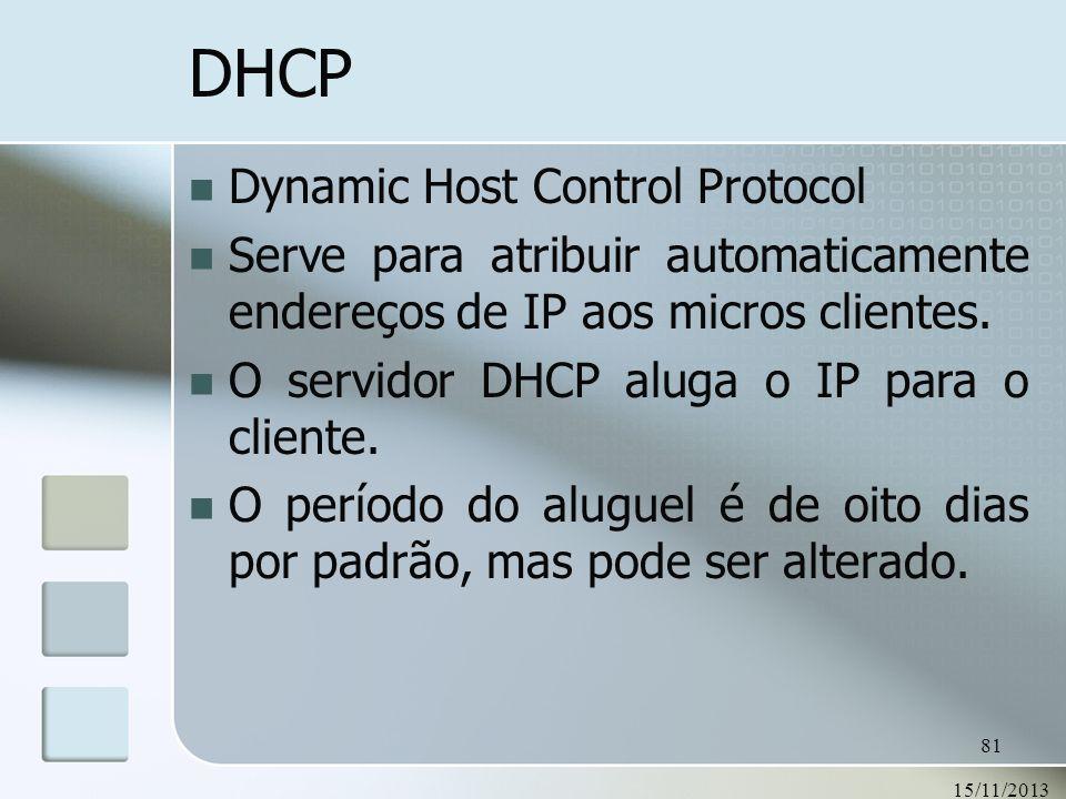 15/11/2013 81 DHCP Dynamic Host Control Protocol Serve para atribuir automaticamente endereços de IP aos micros clientes. O servidor DHCP aluga o IP p