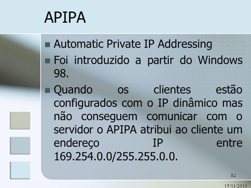 15/11/2013 82 APIPA Automatic Private IP Addressing Foi introduzido a partir do Windows 98. Quando os clientes estão configurados com o IP dinâmico ma