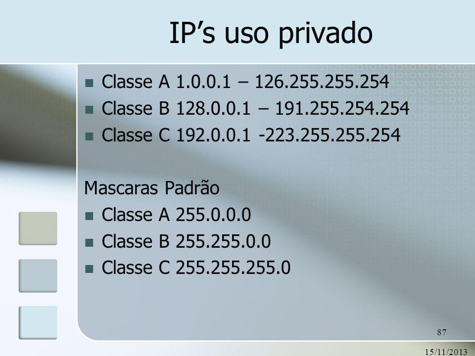 15/11/2013 87 IPs uso privado Classe A 1.0.0.1 – 126.255.255.254 Classe B 128.0.0.1 – 191.255.254.254 Classe C 192.0.0.1 -223.255.255.254 Mascaras Pad
