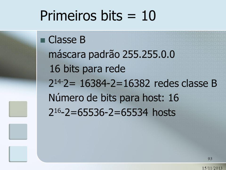 15/11/2013 93 Primeiros bits = 10 Classe B máscara padrão 255.255.0.0 16 bits para rede 2 14- 2= 16384-2=16382 redes classe B Número de bits para host