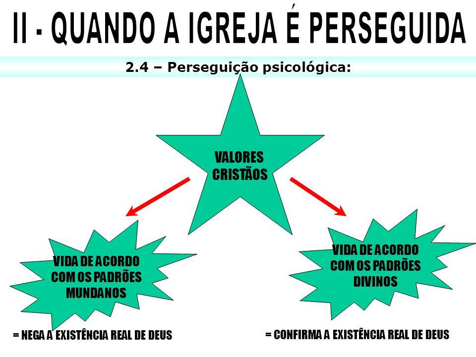 2.4 – Perseguição psicológica: VALORES CRISTÃOS VIDA DE ACORDO COM OS PADRÕES MUNDANOS VIDA DE ACORDO COM OS PADRÕES DIVINOS = NEGA A EXISTÊNCIA REAL