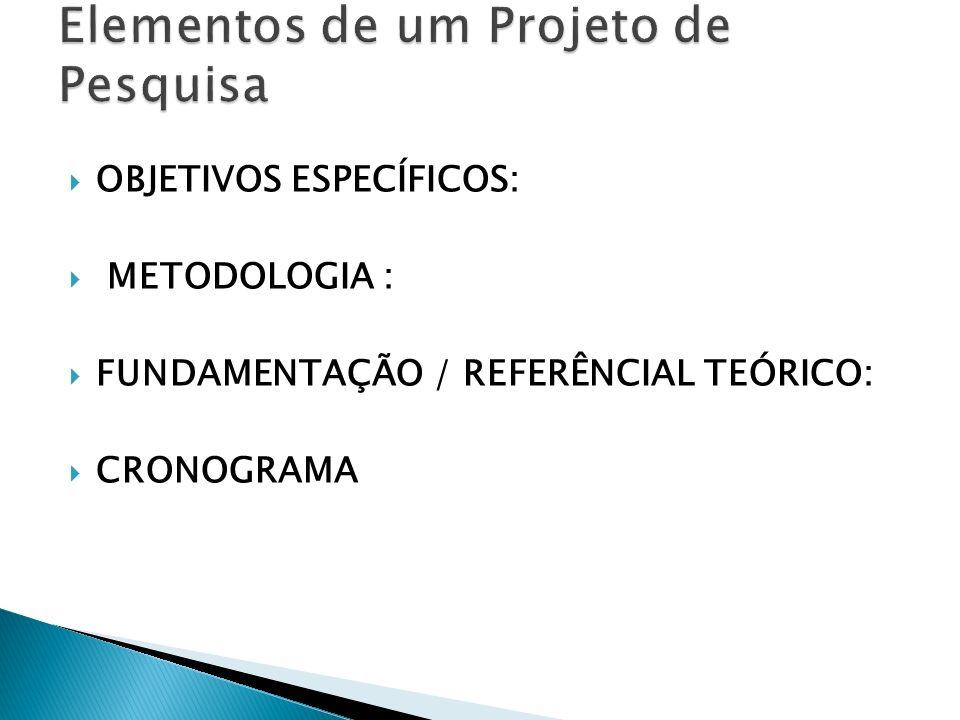 OBJETIVOS ESPECÍFICOS: METODOLOGIA : FUNDAMENTAÇÃO / REFERÊNCIAL TEÓRICO: CRONOGRAMA