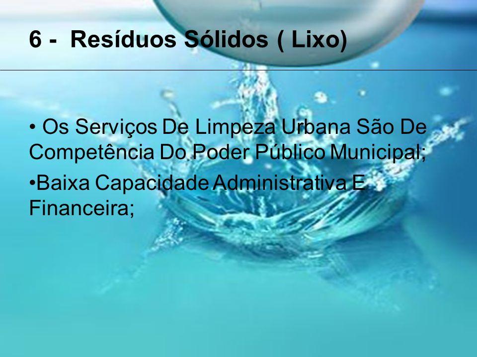6 - Resíduos Sólidos ( Lixo) Os Serviços De Limpeza Urbana São De Competência Do Poder Público Municipal; Baixa Capacidade Administrativa E Financeira;