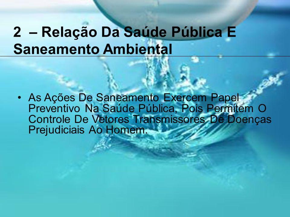 2 – Relação Da Saúde Pública E Saneamento Ambiental As Ações De Saneamento Exercem Papel Preventivo Na Saúde Pública, Pois Permitem O Controle De Vetores Transmissores De Doenças Prejudiciais Ao Homem.