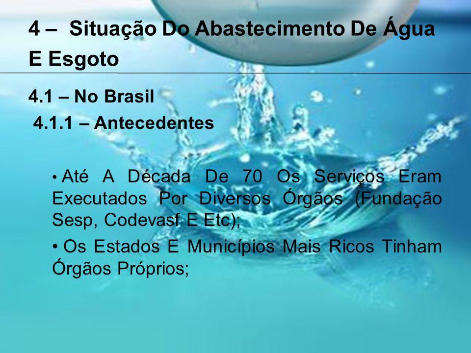 4 – Situação Do Abastecimento De Água E Esgoto 4.1 – No Brasil 4.1.1 – Antecedentes Em 1971 Foi Criado O Planasa (Plano Nacional De Saneamento), com Objetivo de Definir Fontes De Financiamento E Melhorar A Situação Do Saneamento No País; O Planasa Atuava Exclusivamente No Abastecimento De Água E Esgotamento Sanitário; Os Recursos Utilizados Eram Oriundos Do FGTS Que Era Gerido Pelo BNH;