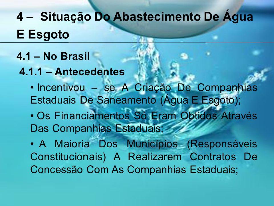 4 – Situação Do Abastecimento De Água E Esgoto 4.1 – No Brasil 4.1.1 – Antecedentes Incentivou – se A Criação De Companhias Estaduais De Saneamento (Água E Esgoto); Os Financiamentos Só Eram Obtidos Através Das Companhias Estaduais; A Maioria Dos Municípios (Responsáveis Constitucionais) A Realizarem Contratos De Concessão Com As Companhias Estaduais;
