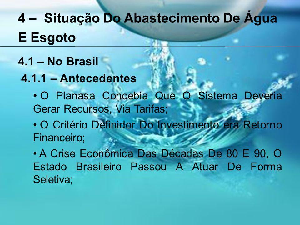 4 – Situação Do Abastecimento De Água E Esgoto 4.1 – No Brasil 4.1.1 – Antecedentes O Planasa Concebia Que O Sistema Deveria Gerar Recursos, Via Tarifas; O Critério Definidor Do Investimento era Retorno Financeiro; A Crise Econômica Das Décadas De 80 E 90, O Estado Brasileiro Passou A Atuar De Forma Seletiva;