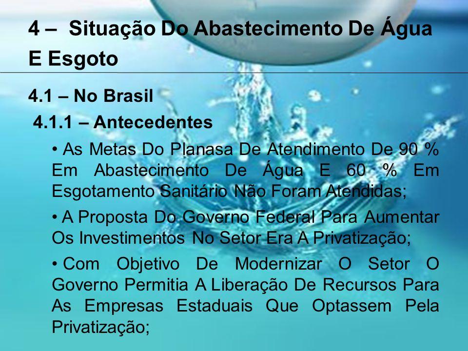 4 – Situação Do Abastecimento De Água E Esgoto 4.1 – No Brasil 4.1.1 – Antecedentes As Metas Do Planasa De Atendimento De 90 % Em Abastecimento De Água E 60 % Em Esgotamento Sanitário Não Foram Atendidas; A Proposta Do Governo Federal Para Aumentar Os Investimentos No Setor Era A Privatização; Com Objetivo De Modernizar O Setor O Governo Permitia A Liberação De Recursos Para As Empresas Estaduais Que Optassem Pela Privatização;