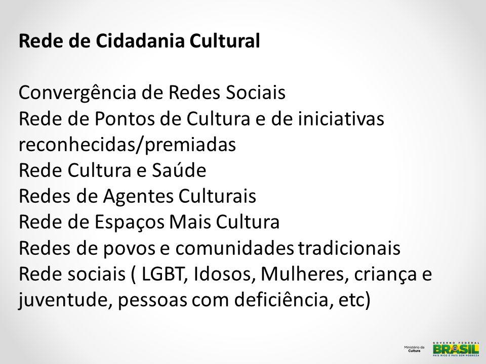 Rede de Cidadania Cultural Convergência de Redes Sociais Rede de Pontos de Cultura e de iniciativas reconhecidas/premiadas Rede Cultura e Saúde Redes