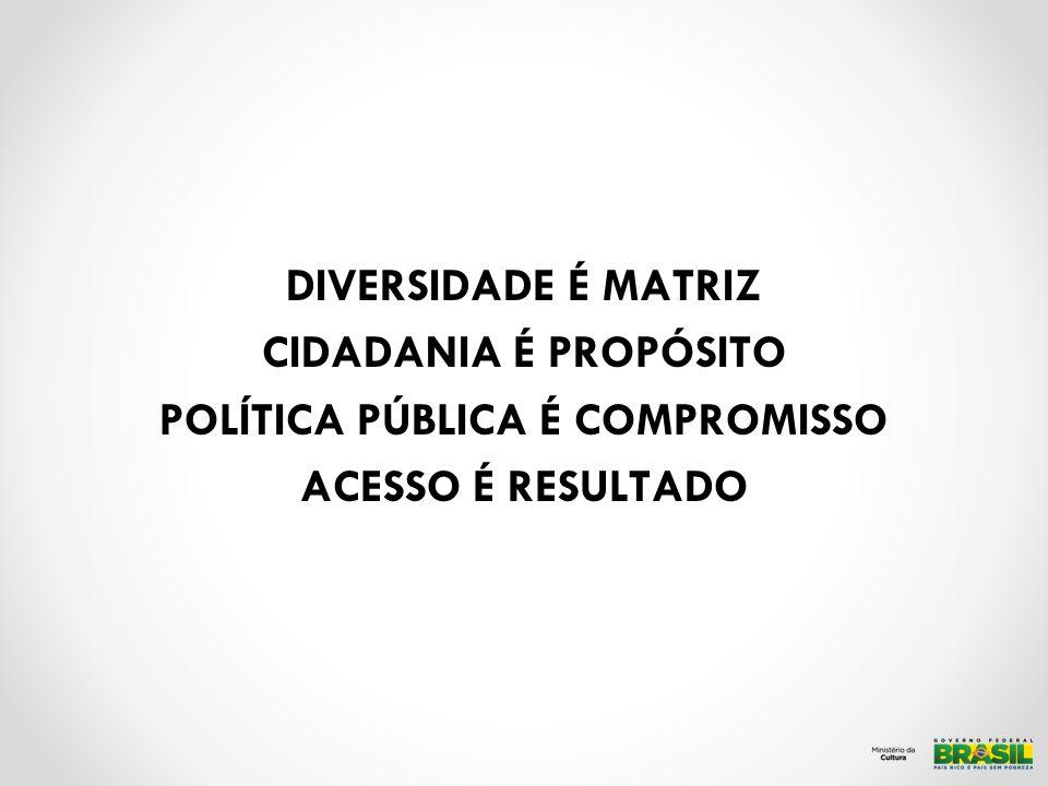 DIVERSIDADE É MATRIZ CIDADANIA É PROPÓSITO POLÍTICA PÚBLICA É COMPROMISSO ACESSO É RESULTADO