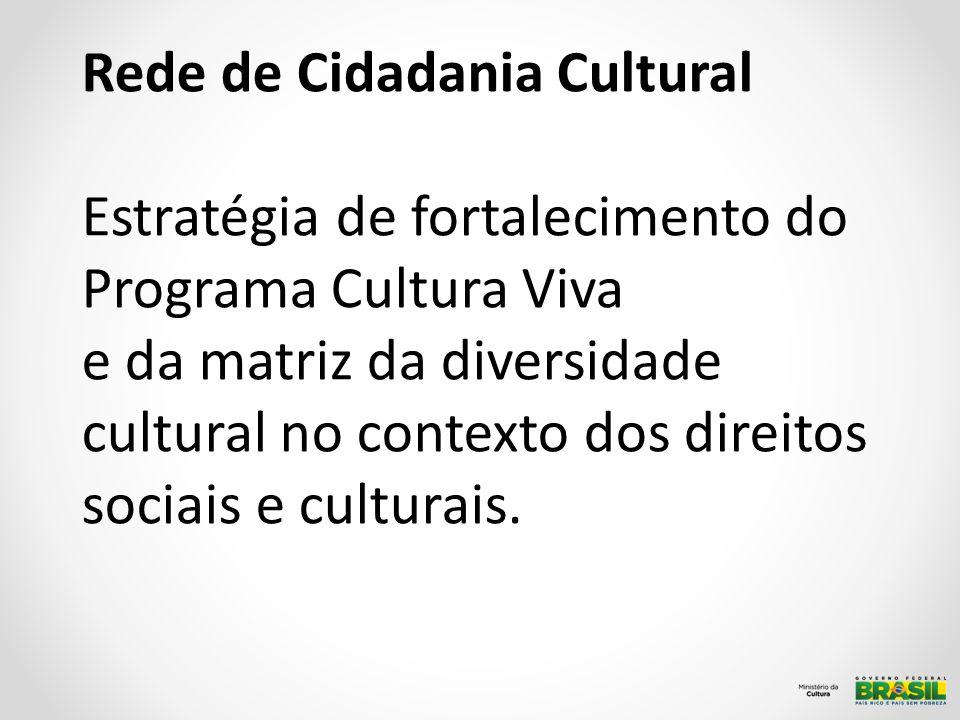 Rede de Cidadania Cultural Estratégia de fortalecimento do Programa Cultura Viva e da matriz da diversidade cultural no contexto dos direitos sociais