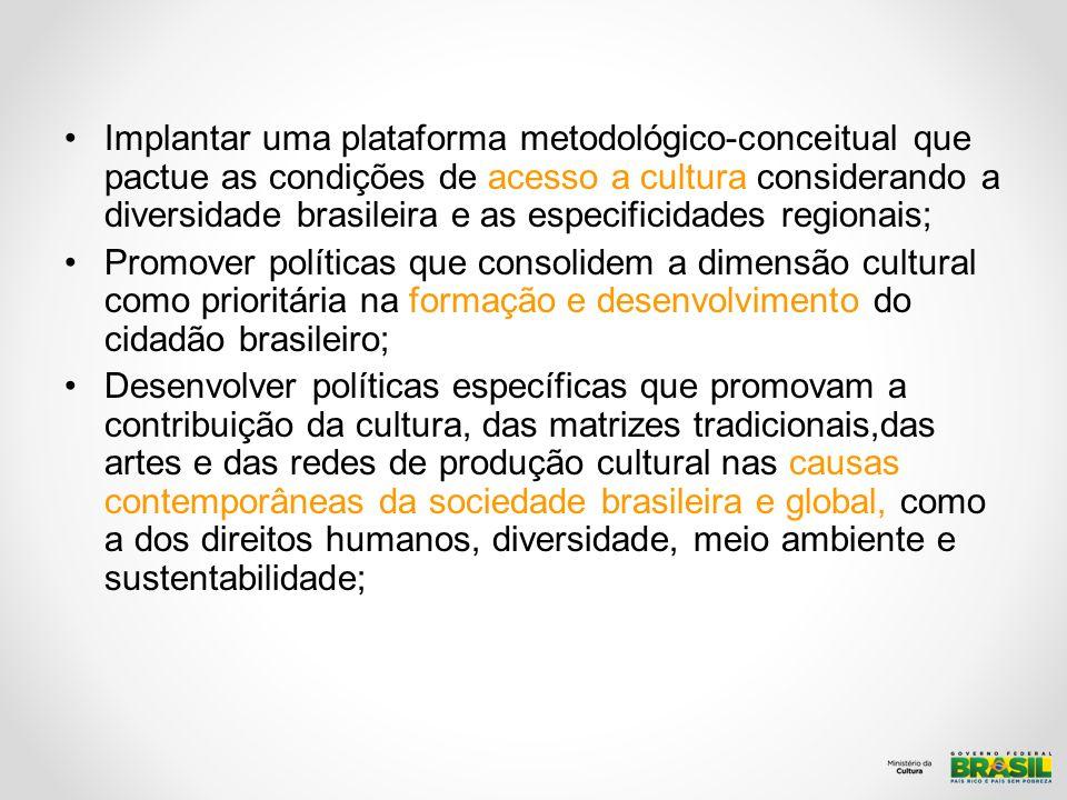 Implantar uma plataforma metodológico-conceitual que pactue as condições de acesso a cultura considerando a diversidade brasileira e as especificidade