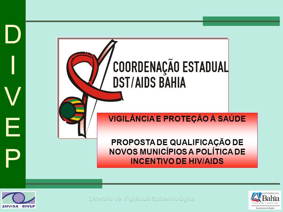 DIVEPDIVEP VIGILÂNCIA E PROTEÇÃO À SAÚDE PROPOSTA DE QUALIFICAÇÃO DE NOVOS MUNICÍPIOS A POLÍTICA DE INCENTIVO DE HIV/AIDS