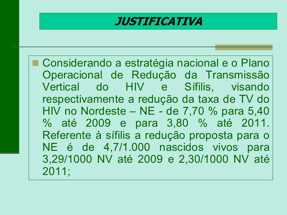 JUSTIFICATIVA Considerando a estratégia nacional e o Plano Operacional de Redução da Transmissão Vertical do HIV e Sífilis, visando respectivamente a