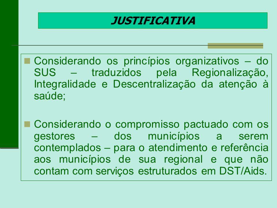 JUSTIFICATIVA Considerando os princípios organizativos – do SUS – traduzidos pela Regionalização, Integralidade e Descentralização da atenção à saúde;