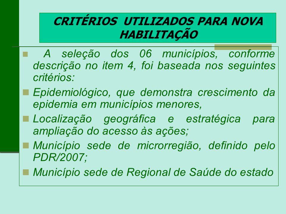 CRITÉRIOS UTILIZADOS PARA NOVA HABILITAÇÃO A seleção dos 06 municípios, conforme descrição no item 4, foi baseada nos seguintes critérios: Epidemiológ