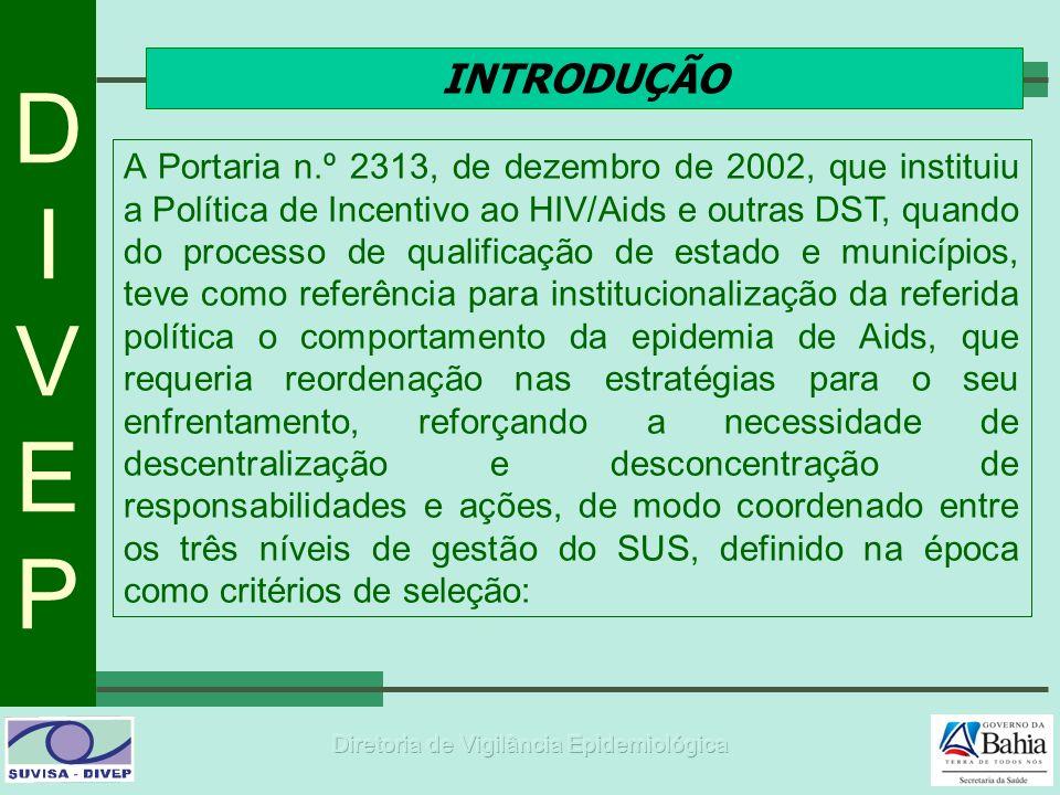 DIVEPDIVEP INTRODUÇÃO A Portaria n.º 2313, de dezembro de 2002, que instituiu a Política de Incentivo ao HIV/Aids e outras DST, quando do processo de