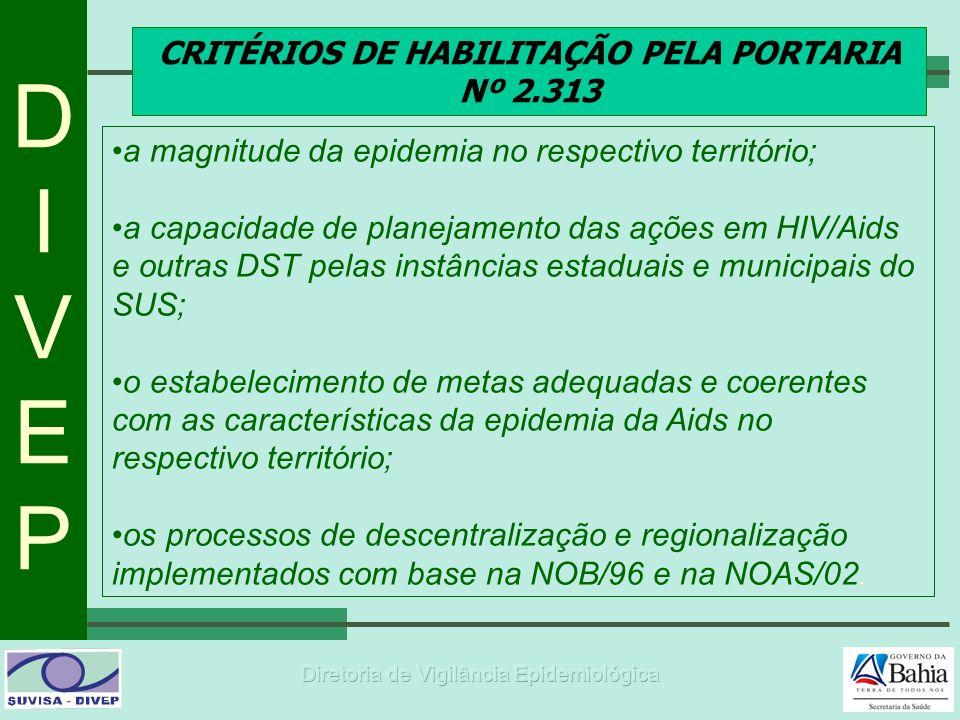 DIVEPDIVEP CRITÉRIOS DE HABILITAÇÃO PELA PORTARIA Nº 2.313 a magnitude da epidemia no respectivo território; a capacidade de planejamento das ações em