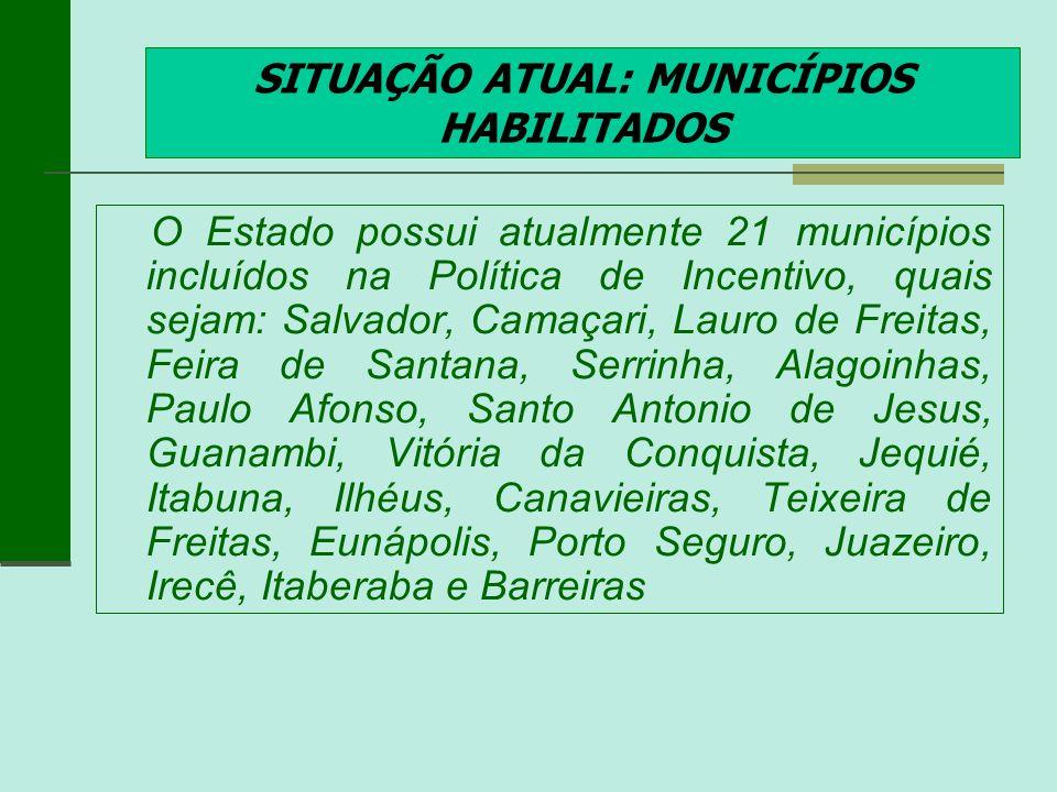 SITUAÇÃO ATUAL: MUNICÍPIOS HABILITADOS O Estado possui atualmente 21 municípios incluídos na Política de Incentivo, quais sejam: Salvador, Camaçari, L