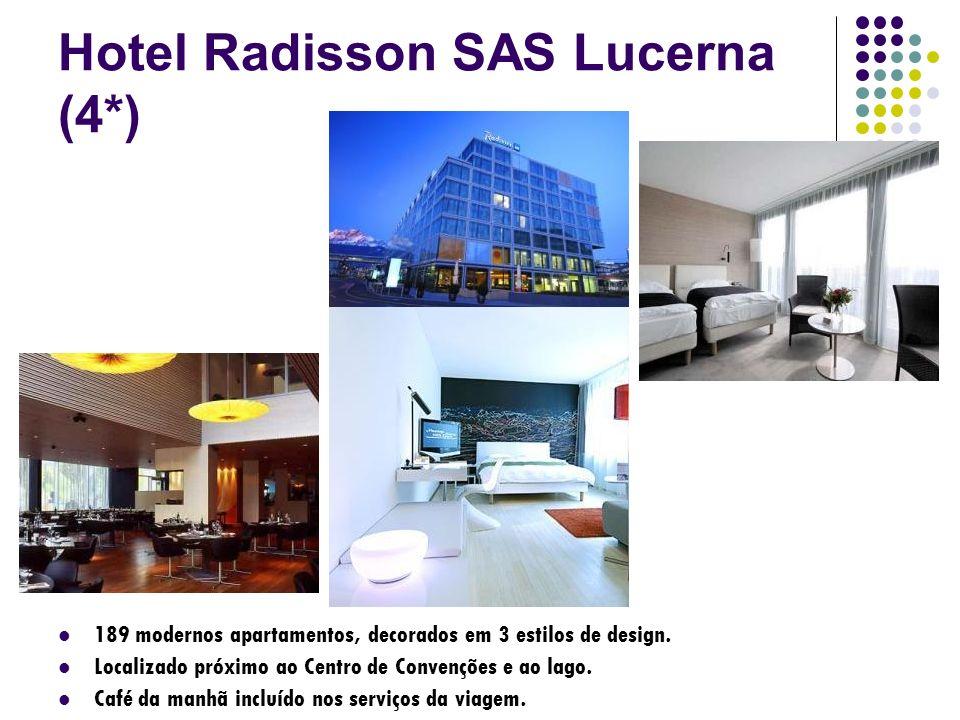 Hotel Radisson SAS Lucerna (4*) 189 modernos apartamentos, decorados em 3 estilos de design. Localizado próximo ao Centro de Convenções e ao lago. Caf