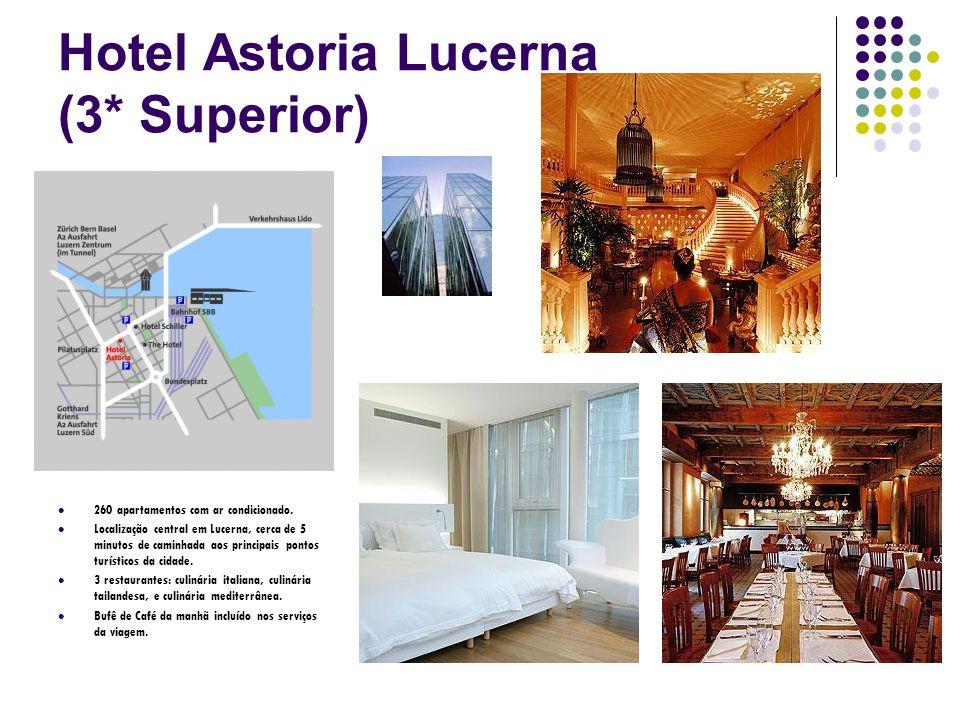 Hotel Astoria Lucerna (3* Superior) 260 apartamentos com ar condicionado. Localização central em Lucerna, cerca de 5 minutos de caminhada aos principa