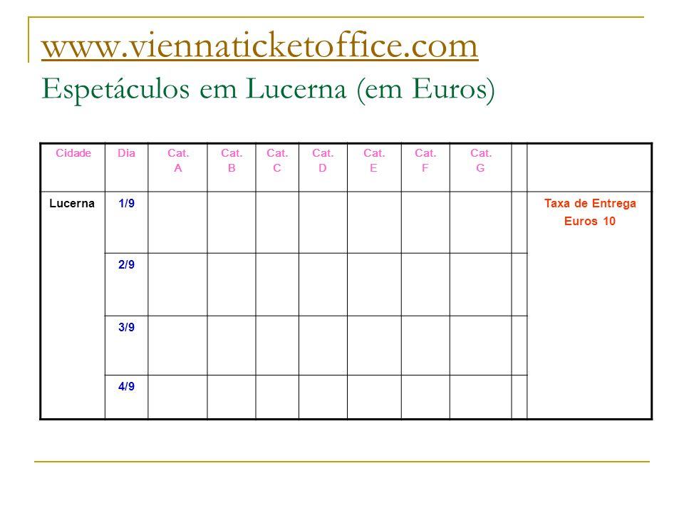 www.viennaticketoffice.com www.viennaticketoffice.com Espetáculos em Lucerna (em Euros) CidadeDiaCat. A Cat. B Cat. C Cat. D Cat. E Cat. F Cat. G Luce