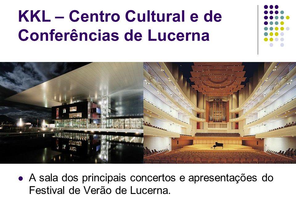 KKL – Centro Cultural e de Conferências de Lucerna A sala dos principais concertos e apresentações do Festival de Verão de Lucerna.