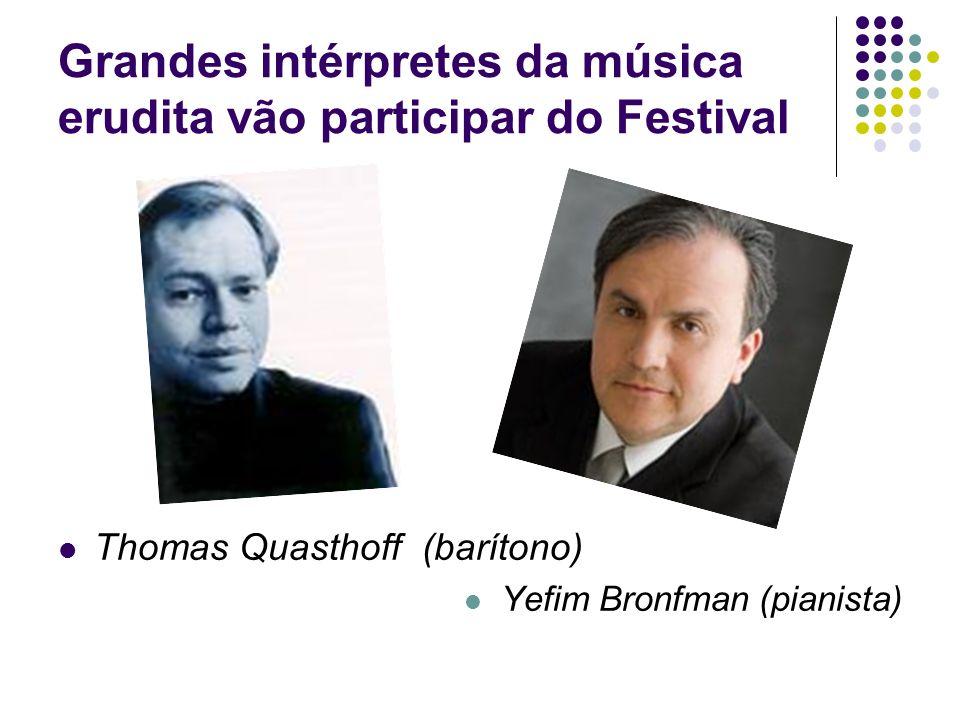 Grandes intérpretes da música erudita vão participar do Festival Thomas Quasthoff (barítono) Yefim Bronfman (pianista)