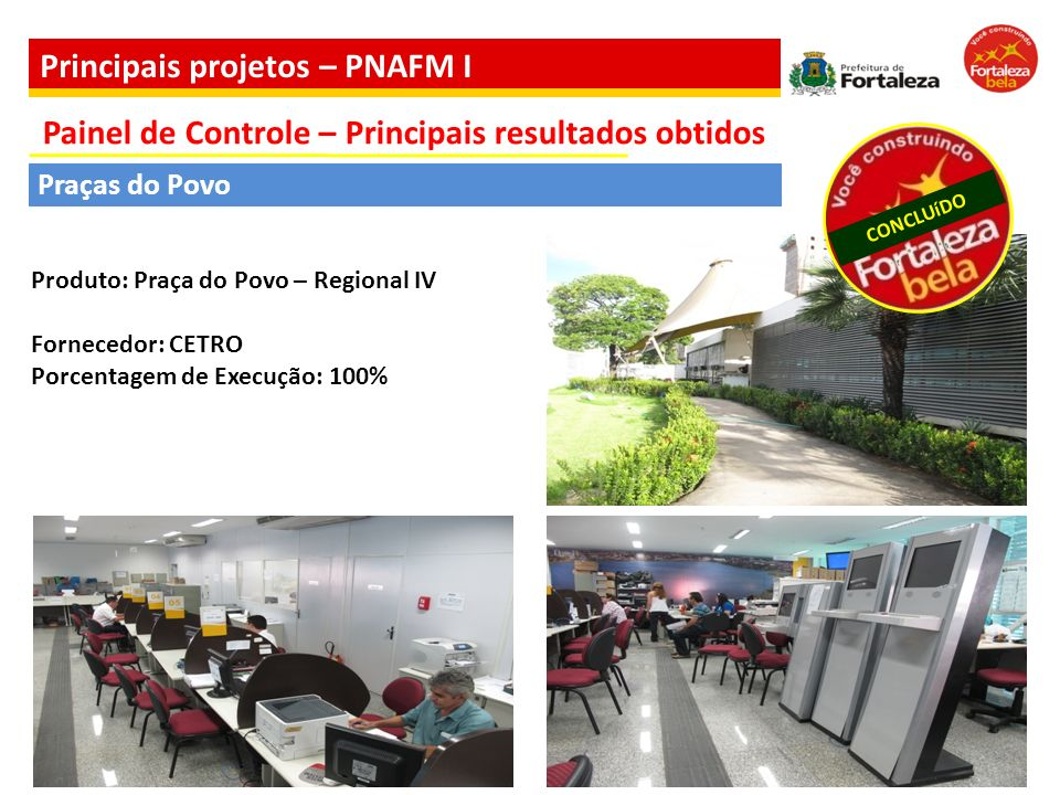 Produto: Praça do Povo – Regional IV Fornecedor: CETRO Porcentagem de Execução: 100% Praças do Povo CONCLUíDO Painel de Controle – Principais resultad