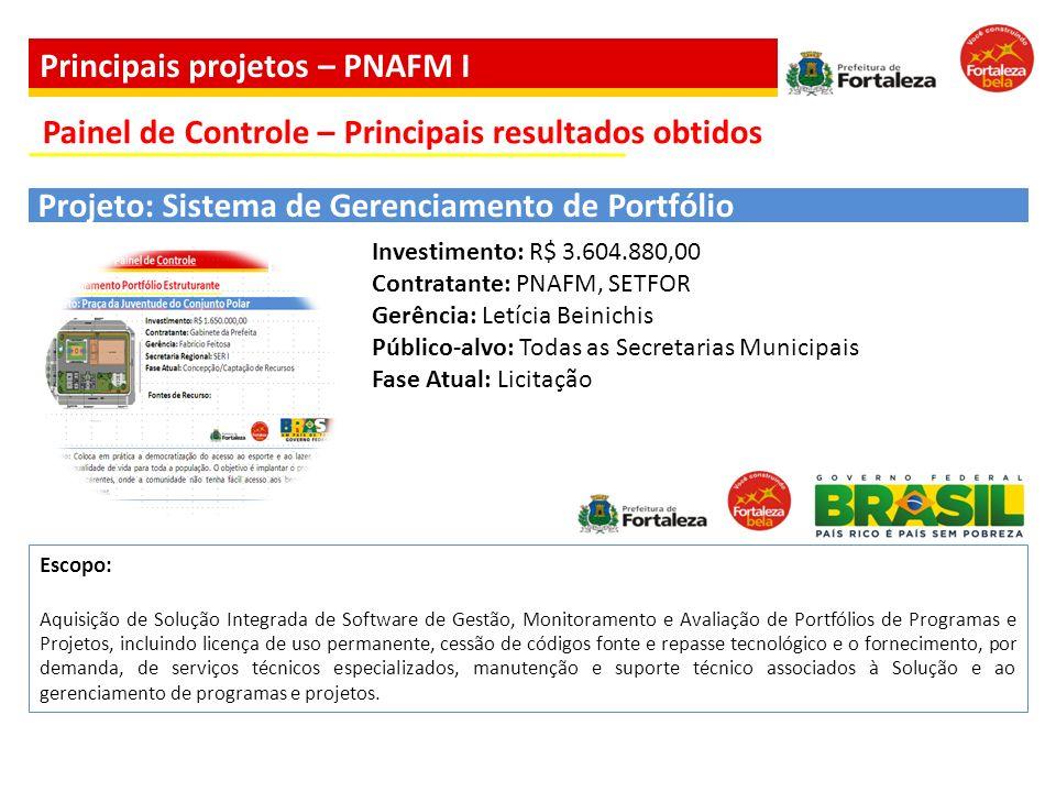 Investimento: R$ 3.604.880,00 Contratante: PNAFM, SETFOR Gerência: Letícia Beinichis Público-alvo: Todas as Secretarias Municipais Fase Atual: Licitaç