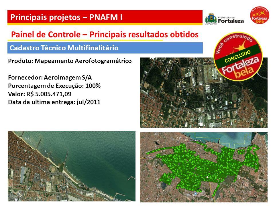 CONCLUíDO Cadastro Técnico Multifinalitário Produto: Mapeamento Aerofotogramétrico Fornecedor: Aeroimagem S/A Porcentagem de Execução: 100% Valor: R$