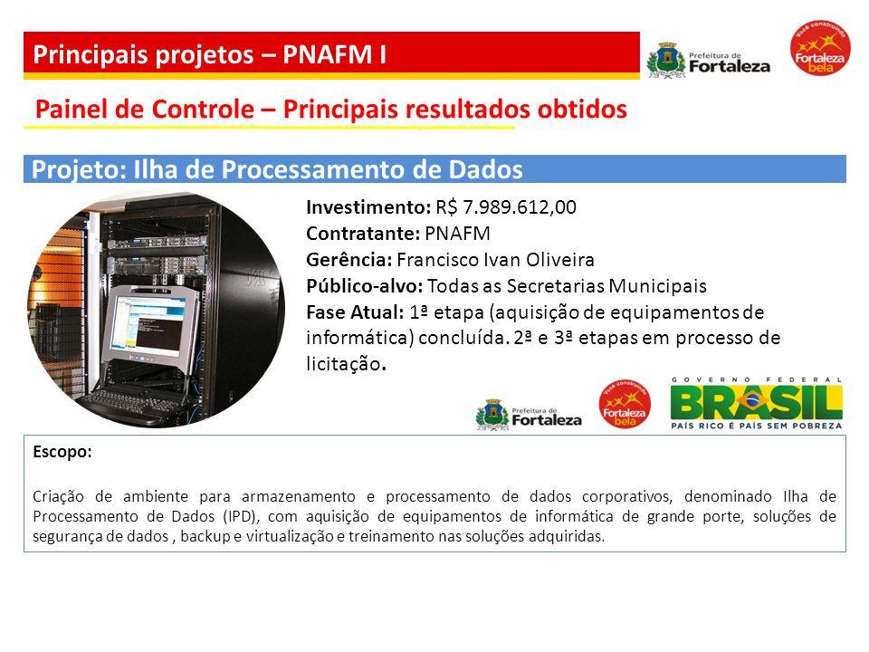 Investimento: R$ 7.989.612,00 Contratante: PNAFM Gerência: Francisco Ivan Oliveira Público-alvo: Todas as Secretarias Municipais Fase Atual: 1ª etapa