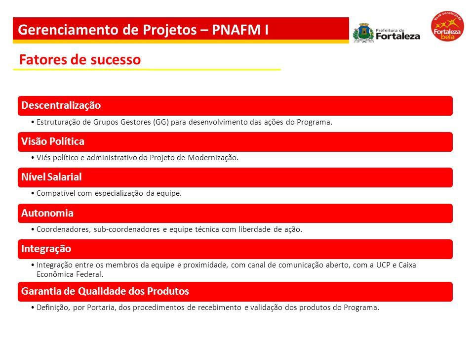 Gerenciamento de Projetos – PNAFM I Descentralização Estruturação de Grupos Gestores (GG) para desenvolvimento das ações do Programa. Visão Política V