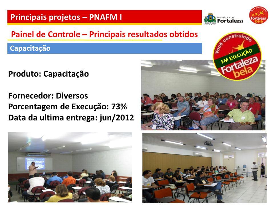 Capacitação Produto: Capacitação Fornecedor: Diversos Porcentagem de Execução: 73% Data da ultima entrega: jun/2012 EM EXECUÇÃO Painel de Controle – P
