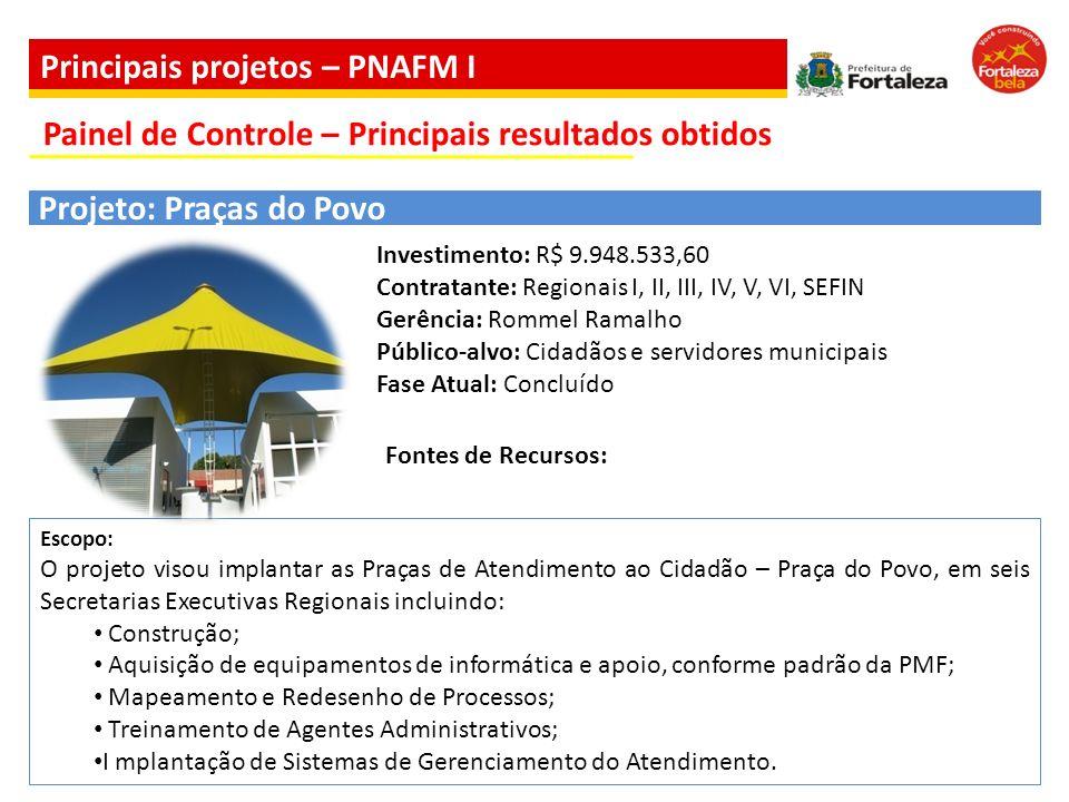Escopo: O projeto visou implantar as Praças de Atendimento ao Cidadão – Praça do Povo, em seis Secretarias Executivas Regionais incluindo: Construção;